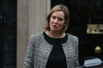 Britain's Home Secretary Amber Rudd leaves 10 Downing street in London on January 8, 2018. British Prime Minister Theresa May began a major reshuffle of her cabinet by replacing the chairman of her Conservative Party, ahead of more ministerial changes expected later today. / AFP PHOTO / Daniel LEAL-OLIVAS (Photo credit should read DANIEL LEAL-OLIVAS/AFP/Getty Images)
