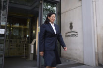 Priti Patel walking out of the Home Office
