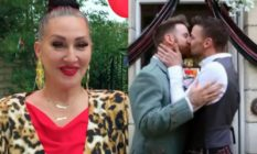 Michelle Visage and two grooms kissing
